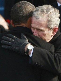 Bush and Obama goodbye