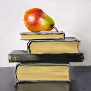 Pear_and_books